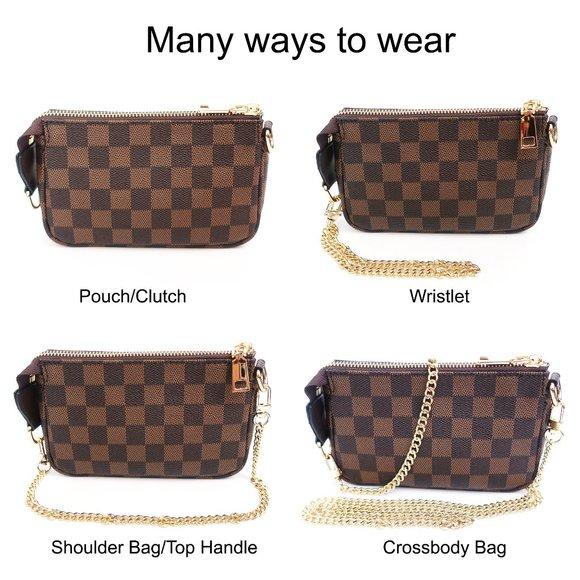 Brown Checkered Pochette Mini Handbag with Detachable Crossbody /& Short Chain